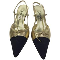 Chanel Gold and Black Slingback with Tie Detail