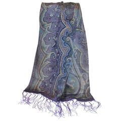 Ralph Lauren Silk Palsey Print with Hand-Knotted Silk Tassles Scarf