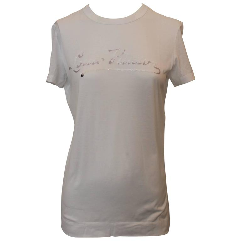 Louis Vuitton White Cotton T-Shirt with Sequin Logo - S
