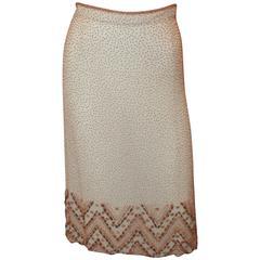 Tomasz Starzewski Cream Silk Skirt with Wooden Beaded Detail - 10