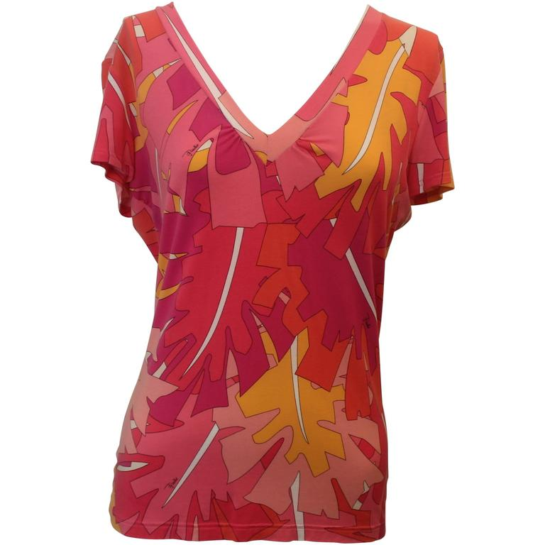 Emilio Pucci Pink and Orange Printed Synthetic Blend Short Sleeve V-Neck Top - L