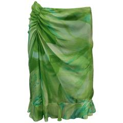 Oscar de la Renta Green Watercolor-Like Floral Printed Silk Chiffon Skirt