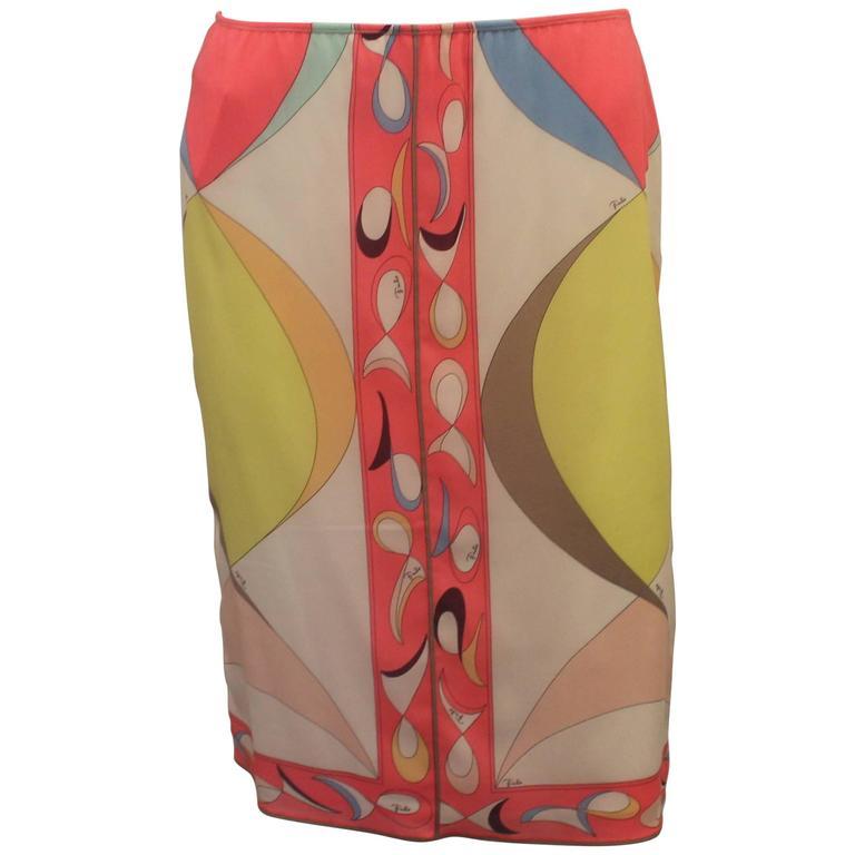 Emilio Pucci Multicolor Stretch Silk Geometric Print Skirt - 10