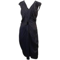 Prada Navy Silk Sleeveless Ruched V-Neck Dress - 40