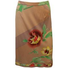 Leonard Tan Silk Jersey Skirt with Large Floral Print - 38