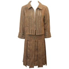 Chanel Earthtone Linen Blend Skirt Suit with Mesh Detail - 38 - 99P