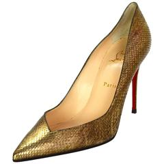 Christian Louboutin Antic Gold Python Completa 100 Pumps w/ Dustbag & Box sz 42