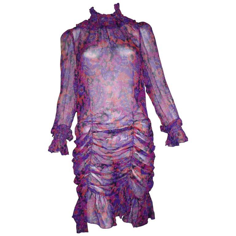 Anna Sui Silk Floral Printed See-Through Dress, 1990s