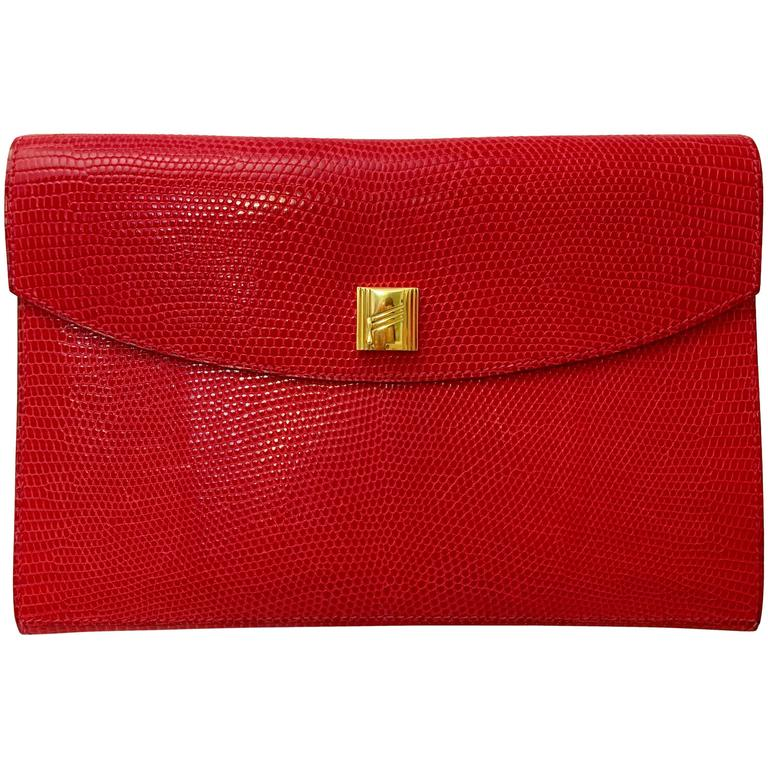 Hermes Red Lizard Envelope Clutch For Sale