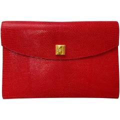 Hermes Red Lizard Envelope Clutch
