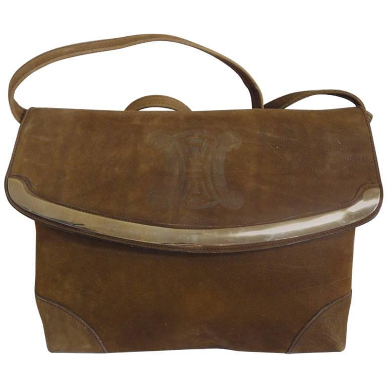 Vintage CELINE genuine suede tanned brown leather shoulder bag, clutch purse.