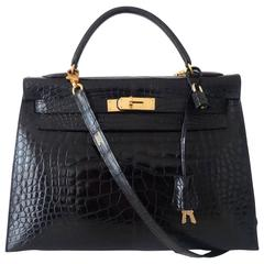 Exceptional Hermes Kelly 32 Sellier Bag 2 ways Black Shiny Alligator GHW