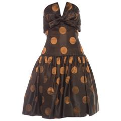 Victor Costa Strapless Black Copper Polka Dot Taffeta Party Dress, Circa 1980's