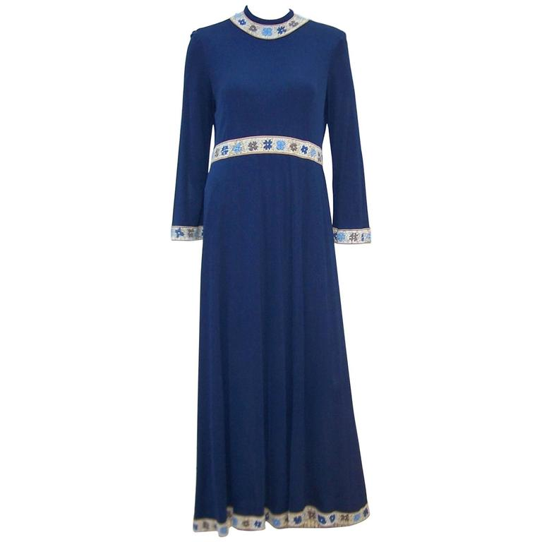 C.1970 Averardo Bessi Silk Jersey Navy Blue Dress