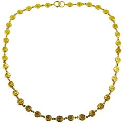 Chanel Vintage Gold Tone CC Coin Necklace