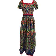 Vintage Mollie Parnis floral gauze ruffle shoulder maxi dress 1960s