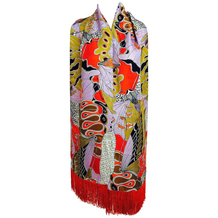Vintage Doro wide & long 100% silk fringe graphic butterfly scarf 1960s For Sale