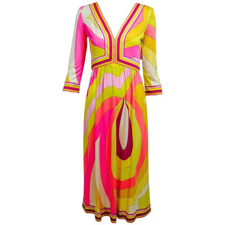 Vintage Emilio Pucci hot pink & citron Silk jersey dress 1960s 1