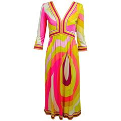 Vintage Emilio Pucci hot pink & citron Silk jersey dress 1960s