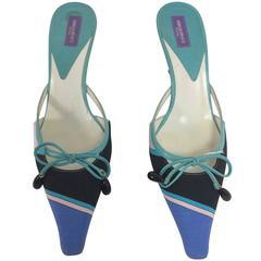 Pucci blue & aqua silk print bow & bead front high heel mules 36 1/2