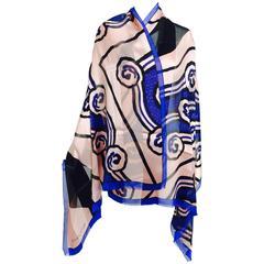 Vintage Roger Vivier Paris Art Deco design silk shawl 1990s