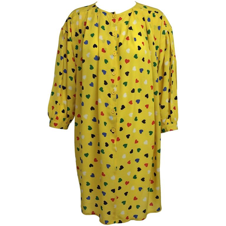 Vintage Ungaro coloured heart print yellow smock dress 1980s