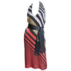 Fendi Striped Silk Plunge Halter Dress