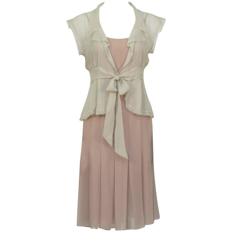 Chanel 2004 Spring Celadon and Beige Chiffon Dress and Vest 1