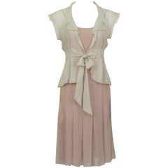 Chanel 2004 Spring Celadon and Beige Chiffon Dress and Vest