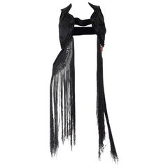 MORPHEW COLLECTION Black Silk Antique Vest With Chinese Embroidery & Hand-Knott