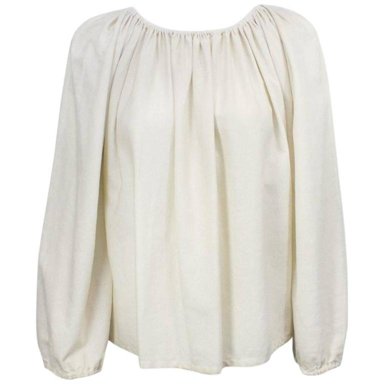 1970's Lanvin Cream Linen Smock Top 1