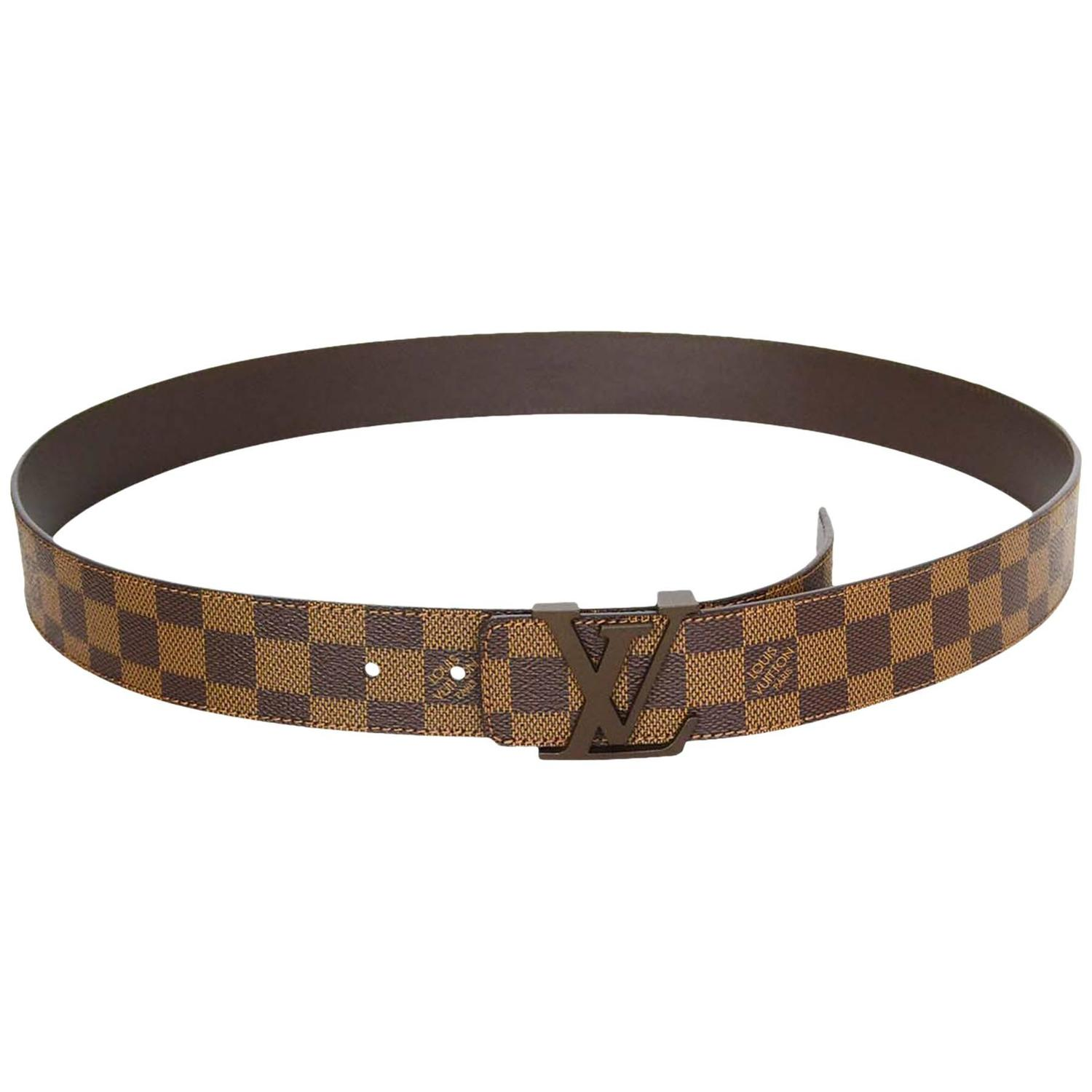 louis vuitton initiales damier belt with lv buckle sz 110 at 1stdibs