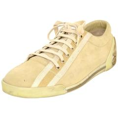 Gucci Beige Suede Sneakers Sz 39.5 with Box
