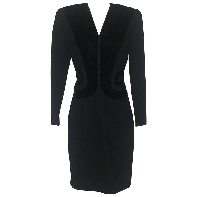 Oscar de la Renta 1990s Long Sleeve Black Dress with Velvet Swirl Detail
