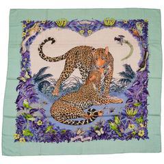 """Hermès Cashmere 54"""" Jungle Love Scarf Dallet in Box"""