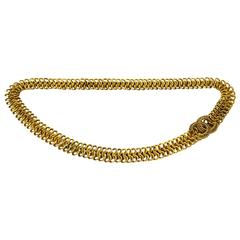 Chanel 1984 Goldtone Circle Chain Belt with CC Closure Sz S
