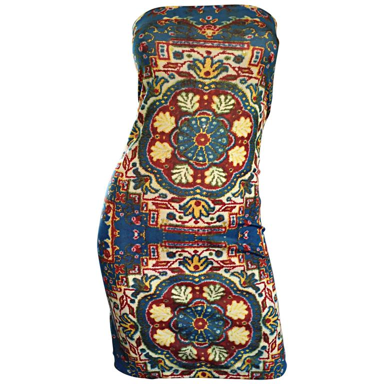 Rare Vintage Todd Oldham 1990s Bodycon Tapestry Print Strapless 90s Boho Dress For Sale