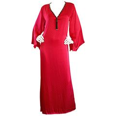 Documented Vintage Oscar de la Renta 1982 Red Silk Beaded Caftan Maxi Dress