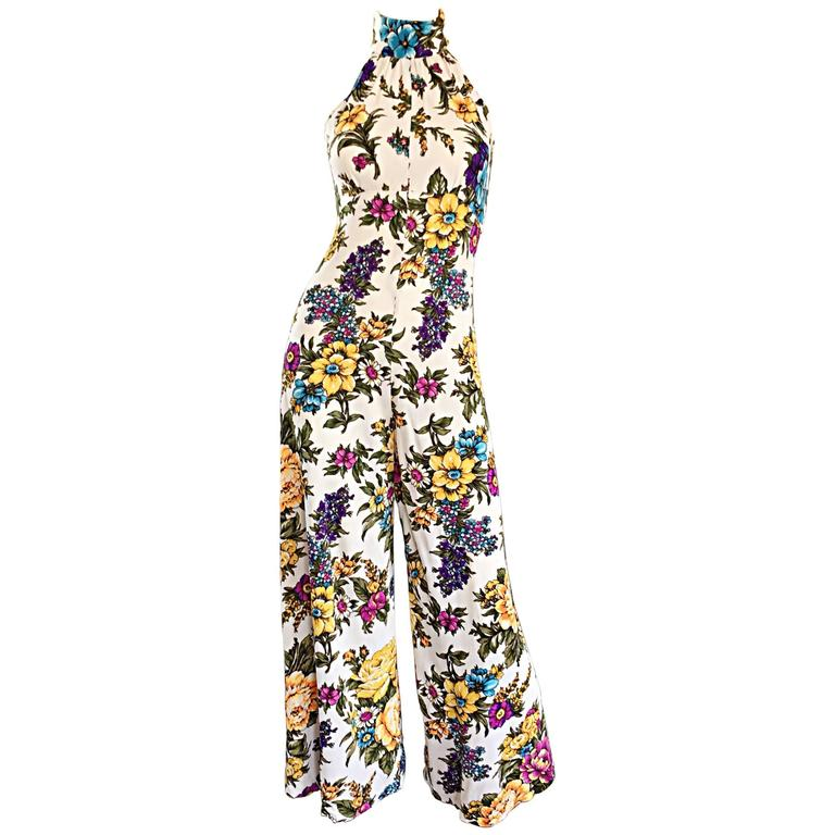 Amazing 1970s Wide Leg High Neck Flower Vintage 70s Cropped Jumpsuit Onesie 1