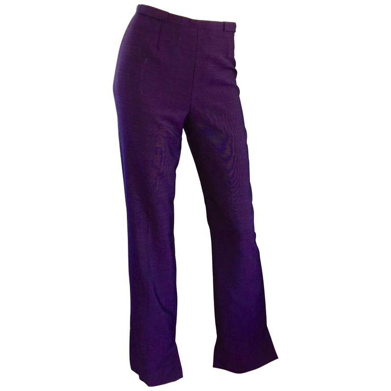 15a0db09fad6 Escada Purple High Waist Flare Leg Boot Cut Regal Egg Plant Trousers / Pants  For Sale