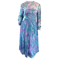 Beautiful 1970s Richilene Silk Chiffon Watercolor Vintage 70s Long Sleeve Dress