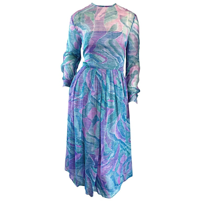 Beautiful 1970s Richilene Silk Chiffon Watercolor Vintage 70s Long Sleeve Dress For Sale