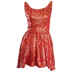 1950s Silvano of Roma for Heiser Red Gold Silver Dipped Hem Silk Mini Dress Top