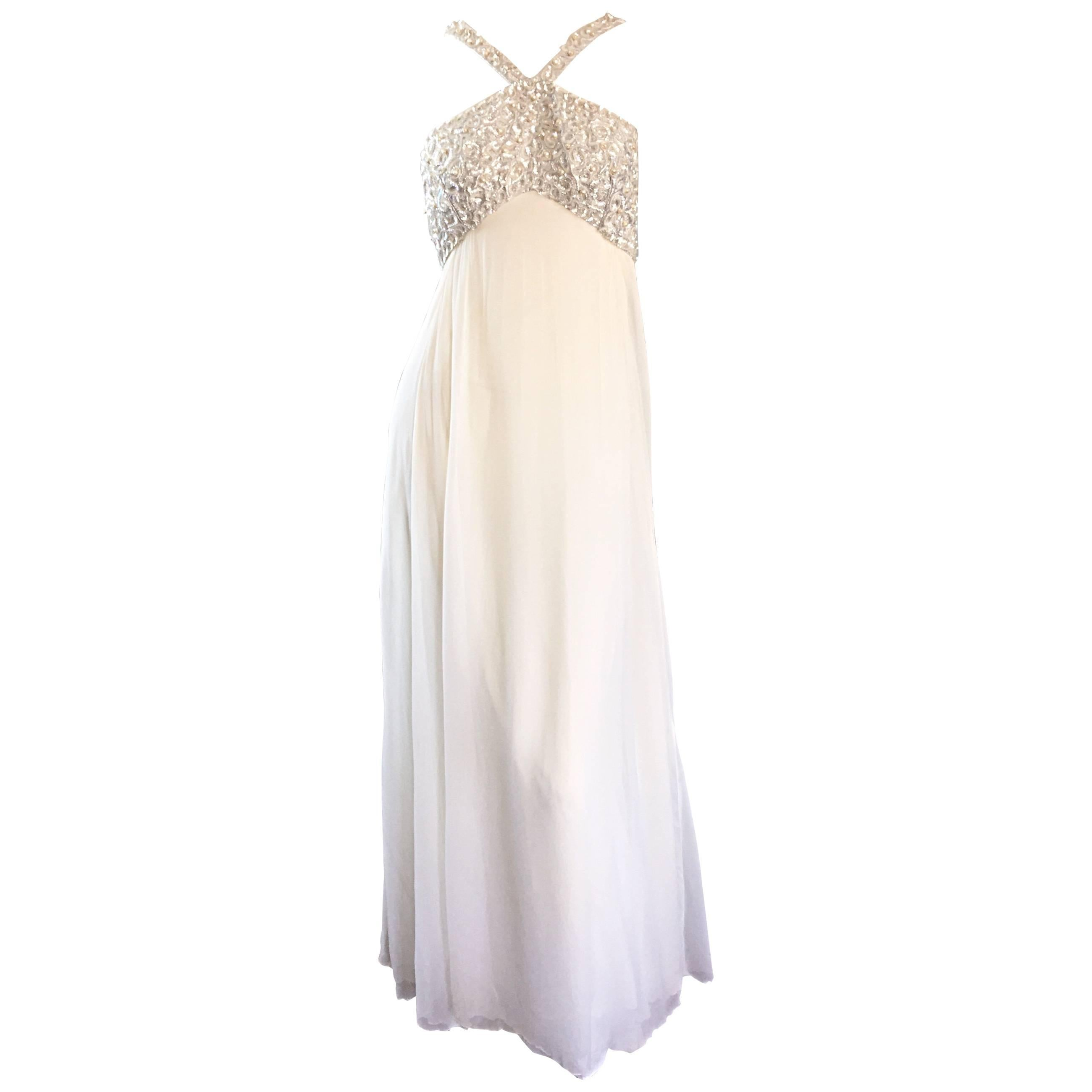 Ethereal Emma Domb 1960s White Chiffon Sequins + Pearls 60s Empire Waist Gown