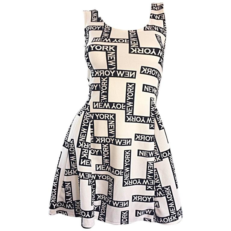 "Fiorella Rubino 1990s "" New York "" Black and White Vintage 90s Skater Mini Dress 1"