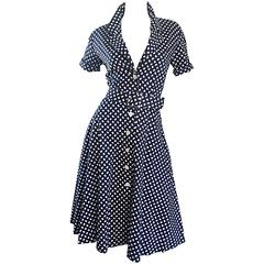 Vintage J. Tiktiner Cote D'Azur - Nice Navy Blue + White Polka Dot Belted Dress
