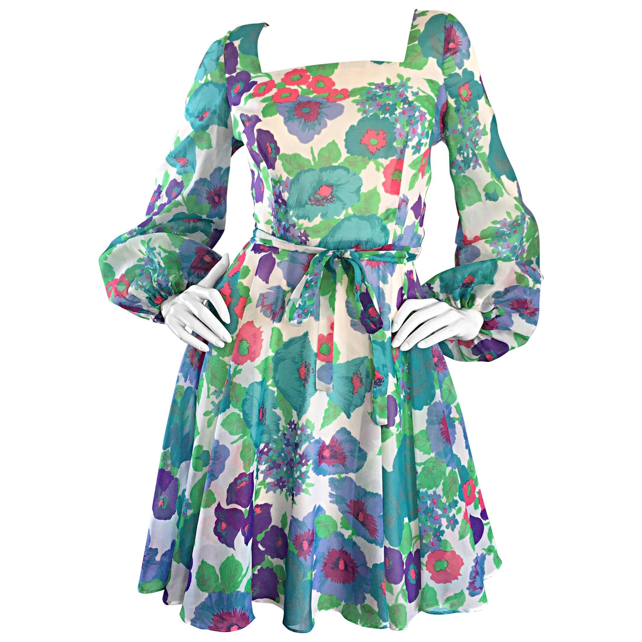 1960s Vintage Flower Printed Chiffon Blue, Purple, Green, Pink Babydoll Dress