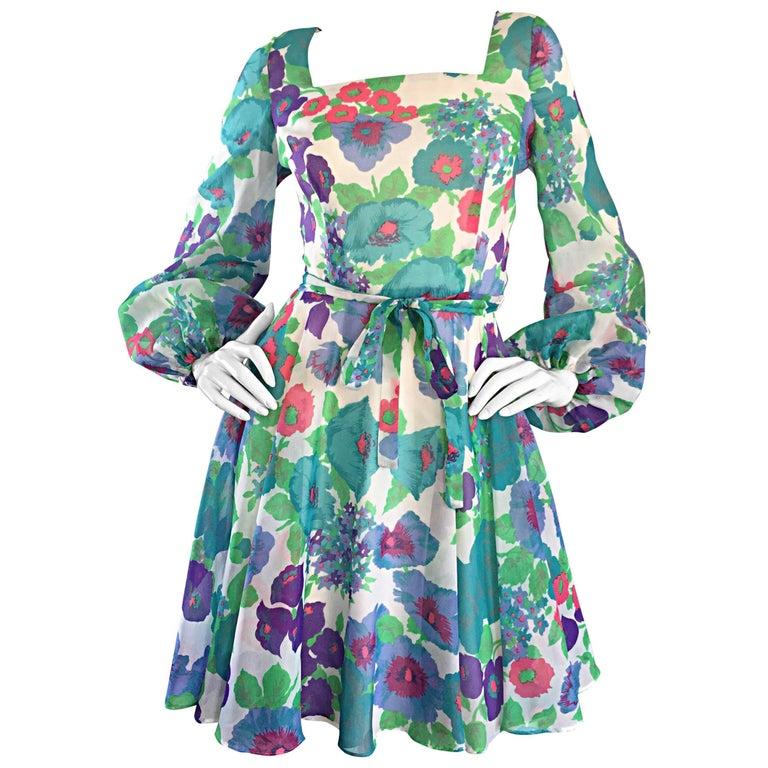 1960s Vintage Flower Printed Chiffon Blue, Purple, Green, Pink Babydoll Dress For Sale