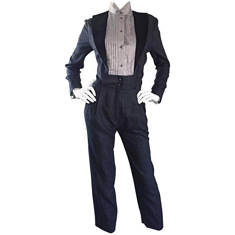 Alberta Ferretti Early Vintage Charcoal Gray Vintage Tuxedo Jumpsuit Onesie For Sale