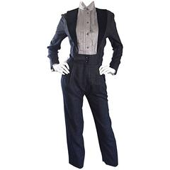 Alberta Ferretti Early Vintage Charcoal Gray Vintage Tuxedo Jumpsuit Onesie